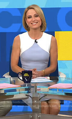 Amy's white and blue colorblock sleeveless dress on Good Morning America