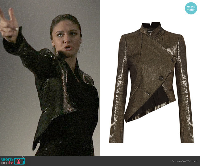 Ann Demeulemeester Asymmetric metallic linen-blend jacket worn by Christine Evangelista on The Arrangement