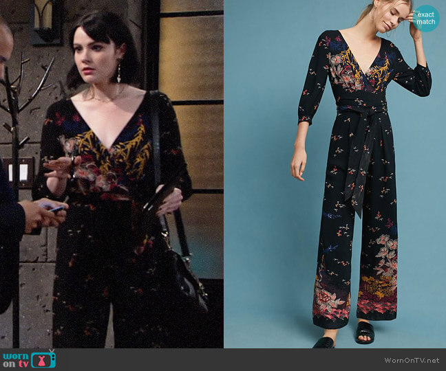 Anthropologie Nara Floral Jumpsuit worn by Cait Fairbanks on The Young & the Restless