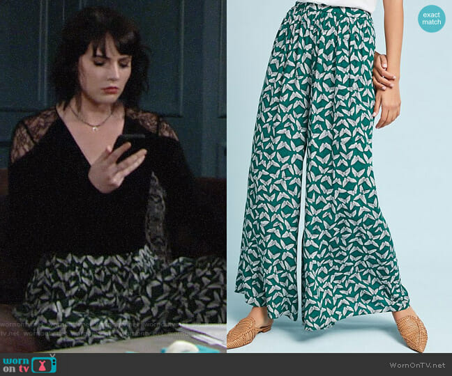 Anthropologie Maeve Acker Wide-Leg Pants worn by Cait Fairbanks on The Young & the Restless