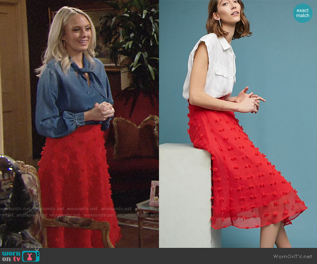 Anthropologie Marlow Textured Skirt worn by Abby Newman (Melissa Ordway) on The Young & the Restless
