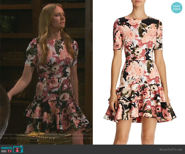 Floral Tiered-Hem Dress by Aqua worn by Kate Mansi on Days of our Lives