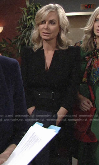 Ashley's black v-neck belted dress on The Young and the Restless