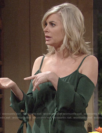 Ashley's green cold-shoulder jumpsuit on The Young and the Restless