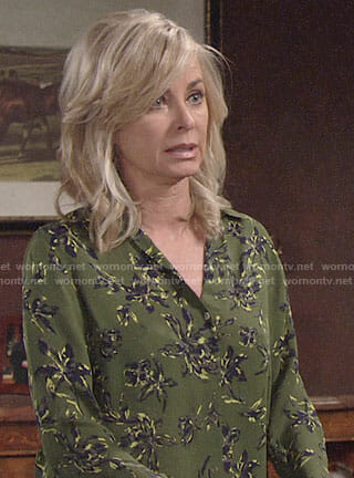 Ashley's green floral blouse on The Young and the Restless
