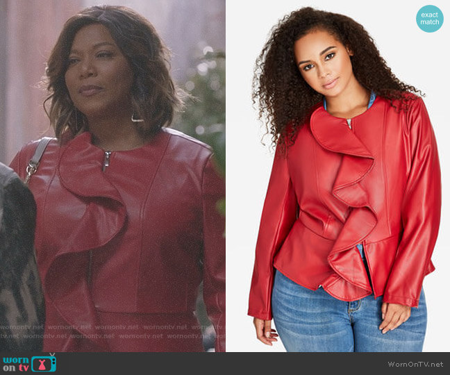 Ruffle Front Faux Leather Jacket by Ashley Stewart worn by Queen Latifah on Star