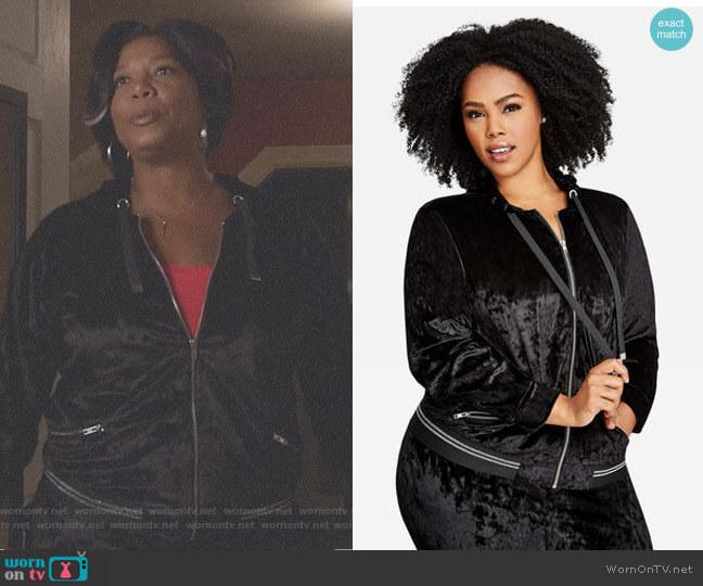 Velvet Zip Up Hoodie by Ashley Stewart worn by Carlotta Brown (Queen Latifah) on Star