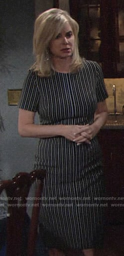 Ashley's striped short sleeve dress on The Young and the Restless