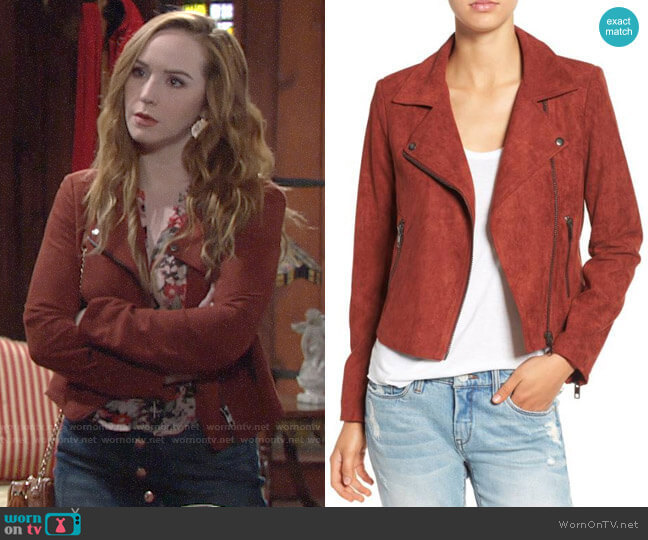 ASTR Faux Suede Moto Jacket worn by Camryn Grimes on The Young & the Restless