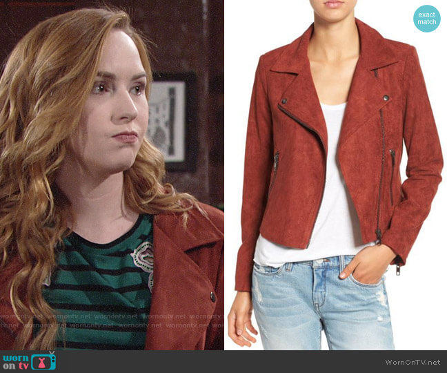 ASTR Faux Suede Moto Jacket in Rusted Tan worn by Camryn Grimes on The Young & the Restless