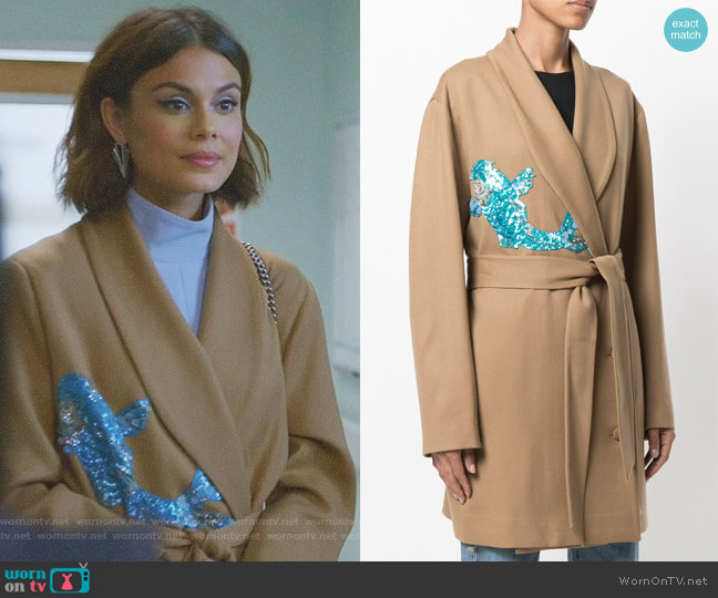 Belted Wrap Coat with Sequin Appliqué by Attico worn by Nathalie Kelley on Dynasty