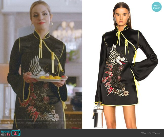 Stella Kimono Dress by Attico worn by Fallon Carrington (Elizabeth Gillies) on Dynasty