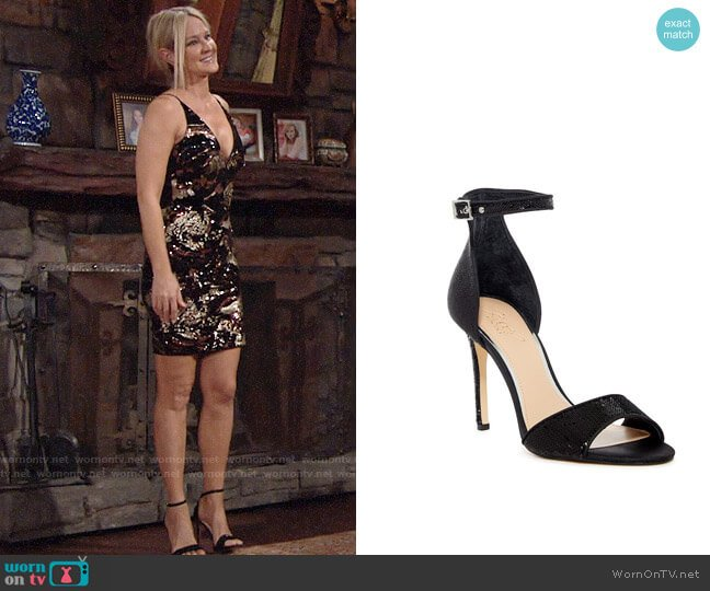 Jewel Badgley Mischka Lorena Ankle Strap Sandals worn by Sharon Case on The Young & the Restless