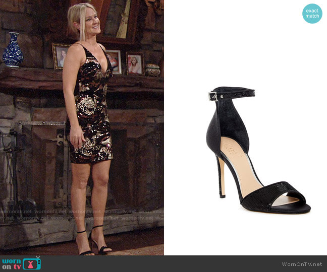 Jewel Badgley Mischka Lorena Ankle Strap Sandals worn by Sharon Collins (Sharon Case) on The Young & the Restless