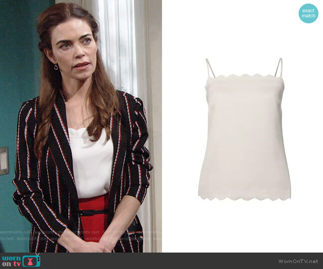 Banana Republic Scalloped Easy Care Essential Camisole worn by Victoria Newman (Amelia Heinle) on The Young & the Restless