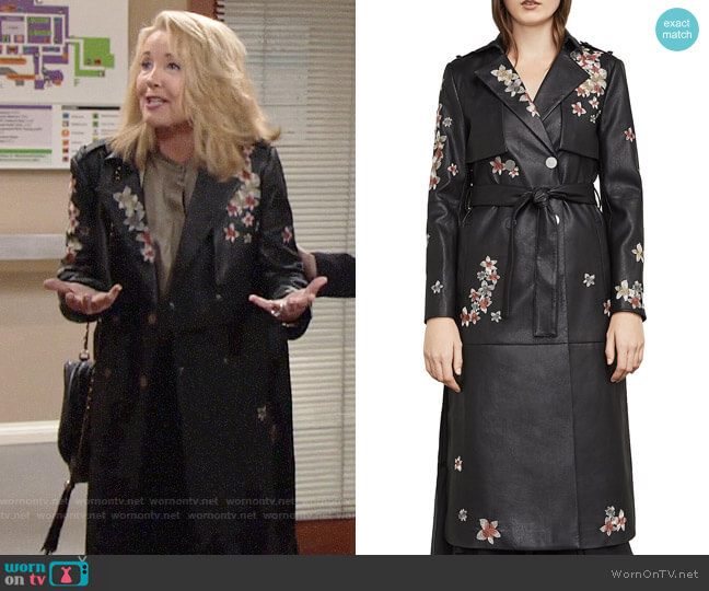 Bcbgmaxazria Alix Embroidered Faux Leather Trench Coat worn by Melody Thomas-Scott on The Young & the Restless