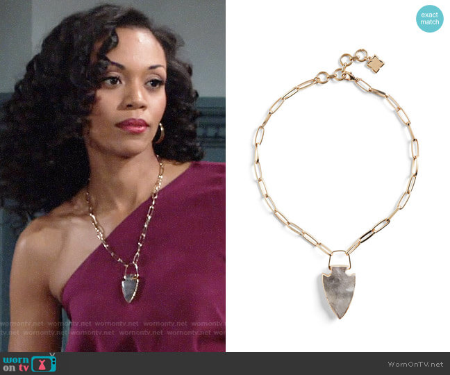 Bcbgmaxazria Natural Stone Pendant Necklace worn by Mishael Morgan on The Young & the Restless