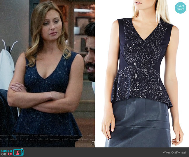 Bcbgmaxazria Steffiana Top worn by Aly Michalka on iZombie