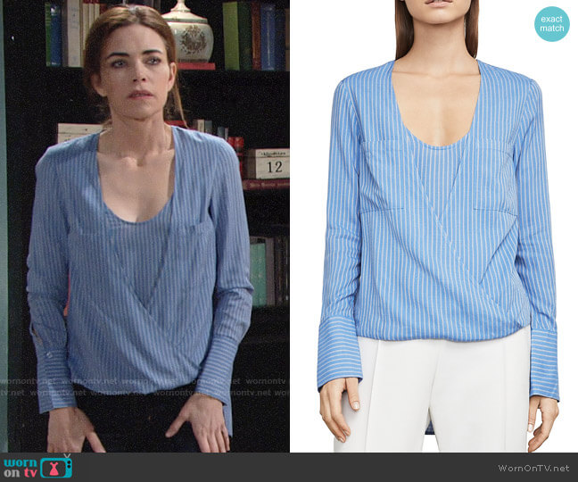 Bcbgmaxazria Ginerva Blouse worn by Victoria Newman (Amelia Heinle) on The Young & the Restless