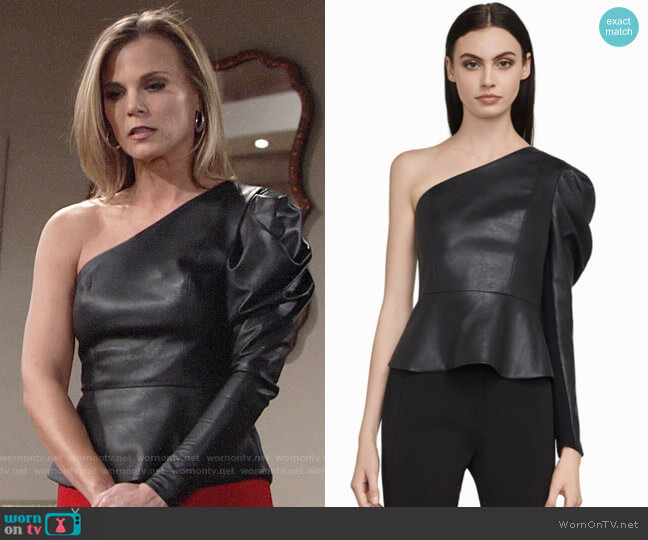 Bcbgmaxazria Lilyan Faux Leather Peplum Top worn by Gina Tognoni on The Young & the Restless