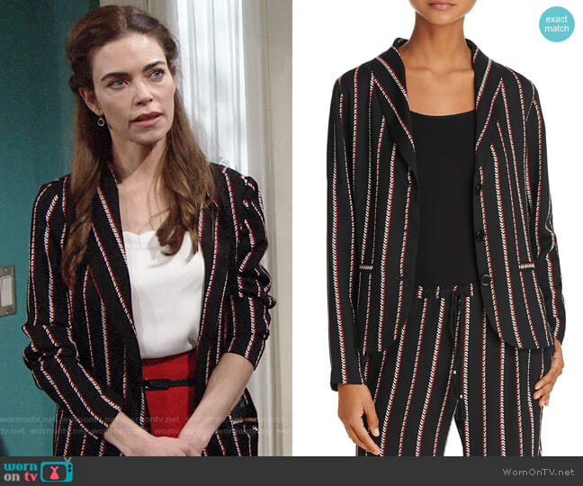 Beltaine Chevron Stripe Crepe Jacket worn by Victoria Newman (Amelia Heinle) on The Young & the Restless