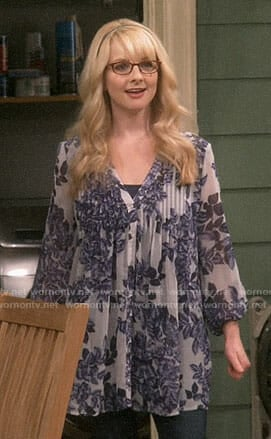 Bernadette's blue floral tunic on The Big Bang Theory