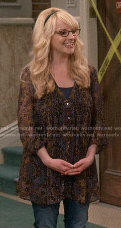 Bernadette's brown paisley tunic on The Big Bang Theory