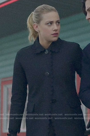 Betty's black scalloped trim coat on Riverdale