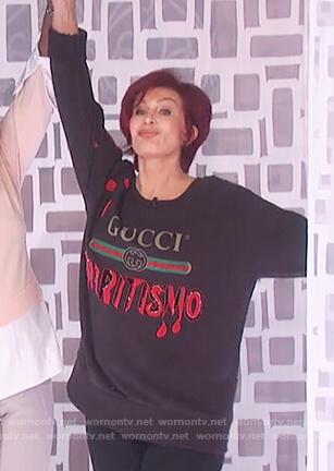 Sharon's black Gucci print sweater on The Talk