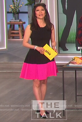 Julie's black and pink fit and flare dress on The Talk