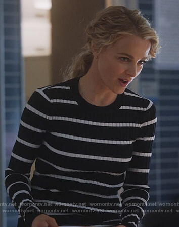 Lizzie's black ribbed striped sweater on Instinct