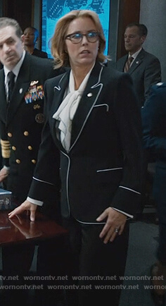 Elizabeth's black blazer with piping trim on Madam Secretary