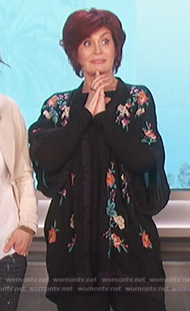Sharon's black floral embroidered kimono top on The Talk
