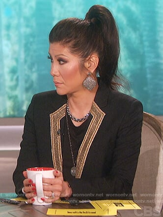 Julie's black embroidered lapel blazer on The Talk