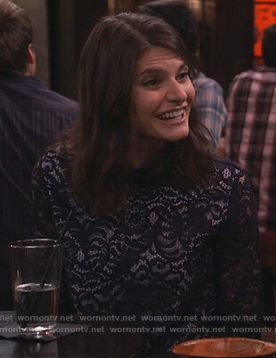 Leslie's navy layered lace top on Living Biblically