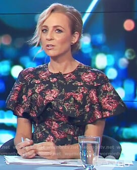Carrie's black floral print ruffle dress on The Project