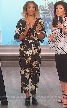 Eve's black floral print jumpsuit on The Talk