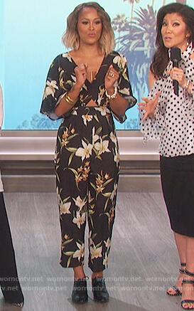 Eve's black floral print jumpsuit on The Talk