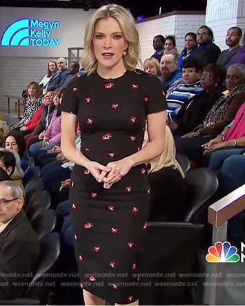 Megyn's black floral sheath dress on Megyn Kelly Today
