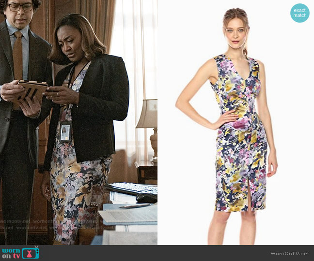 Black Halo Coral Printed Sheath Dress worn by Daisy Grant (Patina Miller) on Madam Secretary