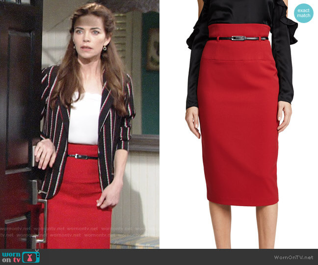 Black Halo High Waisted Pencil Skirt worn by Victoria Newman (Amelia Heinle) on The Young & the Restless