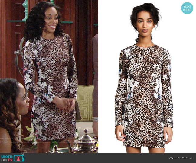 Black Halo Lively Dress in Wild Dolly worn by Mishael Morgan on The Young & the Restless