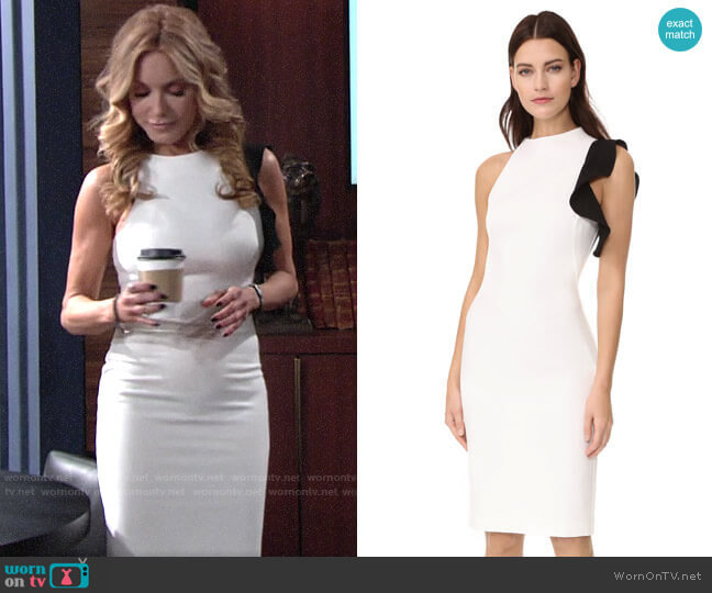 Black Halo Pabla Sheath worn by Lauren Fenmore (Tracey Bregman) on The Young & the Restless