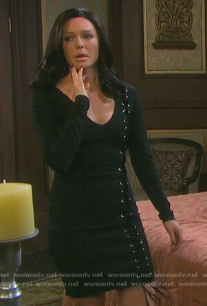 Abigail's black lace-up long sleeve dress on Days of our Lives