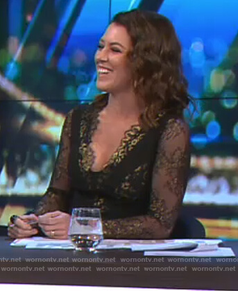 Gorgi's black and gold lace dress on The Project