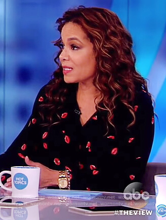 Sunny's black lip print shirtdress on The View
