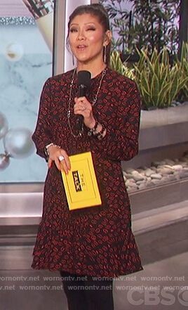 Julie's black lip print dress on The Talk