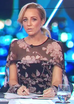 Carrie's sheer floral top on The Project