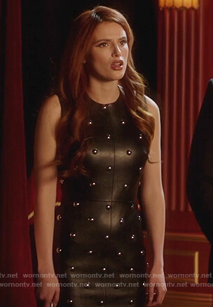 Paige's studded leather dress on Famous in Love