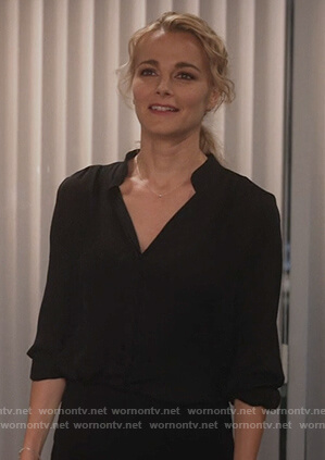Lizzie's black v-neck silk blouse on Instinct